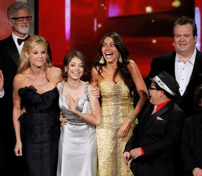The cast of 'Modern Family' react as they accepts the award for outstanding comedy series during the 62nd Primetime Emmy Awards Sunday, Aug. 29, 2010, in Los Angeles.