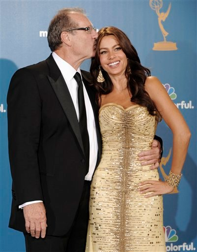 """Ed O'Neill and Sofia Vergara from the comedy """"Modern Family"""" are seen in the press room after the show won outstanding comedy series at the 62nd Primetime Emmy Awards Sunday, Aug. 29, 2010, in Los Angeles."""