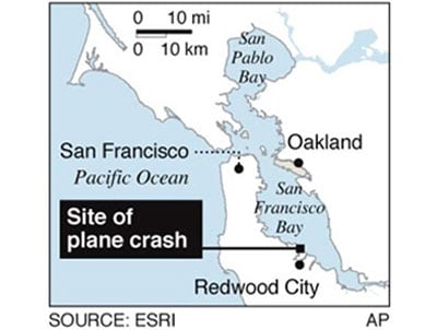 Map locates the site of a small twin-engine plane crash in San Fransisco Bay.