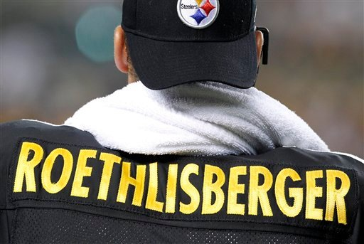 Pittsburgh Steelers quarterback Ben Roethlisberger stands on the sidelines at the end of the first quarter against the Carolina Panthers during NFL preseason football game action in Pittsburgh, Thursday, Sept. 2, 2010. (AP Photo/Gene J. Puskar)
