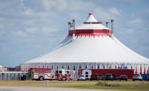 Five people were injured Wednesday, Feb. 8, 2017, in Sarasota, Fla., while rehearsing the final act, an eight person pyramid on a high wire, for the upcoming Circus Sarasota show Synergy.
