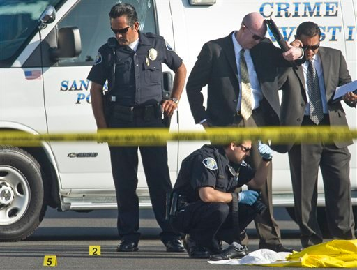 Santa Ana police investigators look on as the coroner from the Orange County Sheriffs Department examines a body found in Santa Ana, Calif. on Friday, Sept. 3, 2010. (AP Photo/The Orange County Register, Bruce Chambers)