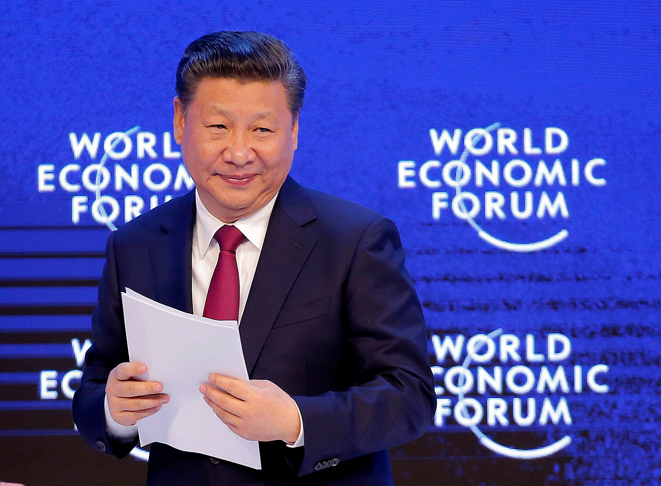 China's President Xi Jinping looks on at the World Economic Forum in Davos, Switzerland, Tuesday, Jan. 17, 2017. (AP Photo/Michel Euler)