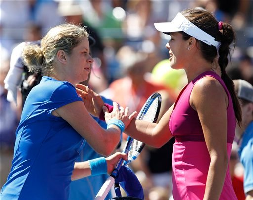 Kim Clijsters of Belgium, left, is congratulated by Ana Ivanovic of Serbia after Clijsters won their match 6-2, 6-1 at the U.S. Open tennis tournament in New York, Sunday, Sept. 5, 2010. (AP Photo/Kathy Willens)