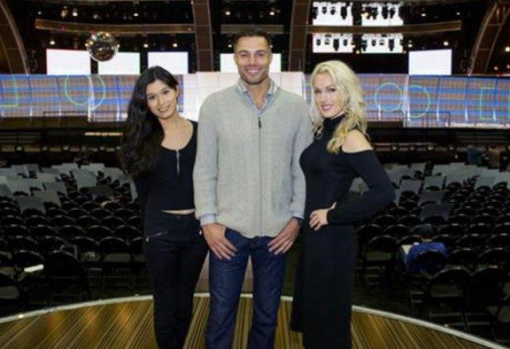 This Feb. 9, 2017 photo shows trophy presenters, from left, transgender model Martina Robledo, actor and model Derek Marrocco, and model and actress Hollin Haley in Los Angeles.