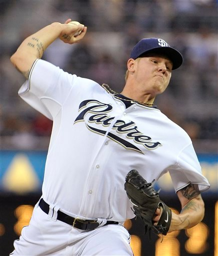 San Diego Padres pitcher Mat Latos delivers during the first inning of a baseball game against the Los Angeles Dodgers on Tuesday, Sept. 7, 2010, in San Diego. (AP Photo/Denis Poroy)