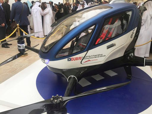 A model of EHang 184 and the next generation of Dubai Drone Taxi is seen during the seconde day of the World Government Summit in Dubai, United Arab Emirates, Monday, Feb. 13, 2017.