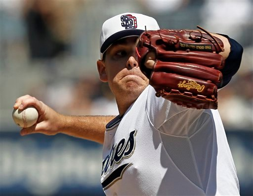 San Diego Padres pitcher Tim Stauffer throws to the San Francisco Giants during the first inning of a baseball game in San Diego, Saturday, Sept. 11, 2010. (AP Photo/Chris Carlson)