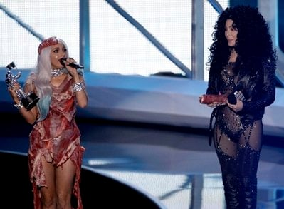 Lady Gaga, left, accepts the award for Video of the Year from Cher at the MTV Video Music Awards on Sunday, Sept. 12, 2010 in Los Angeles.