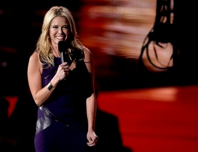 Host Chelsea Handler is seen on stage at the MTV Video Music Awards on Sunday, Sept. 12, 2010.