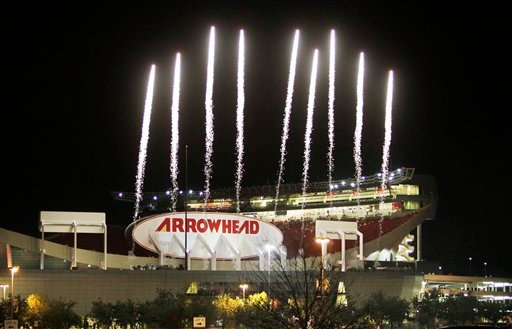 Fireworks are launched from the remodeled Arrowhead Stadium following a night practice by the Kansas City Chiefs NFL football team Wednesday, Aug. 25, 2010, in Kansas City, Mo. (AP Photo/Orlin Wagner)