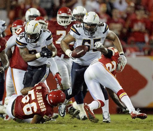 San Diego Chargers  running back Ryan Mathews (24) fumbles the ball under pressure from Kansas City Chiefs linebacker Derrick Johnson (56) during the second quarter of an NFL football game between Monday, Sept. 13, 2010, in Kansas City, Mo. (AP Photo)