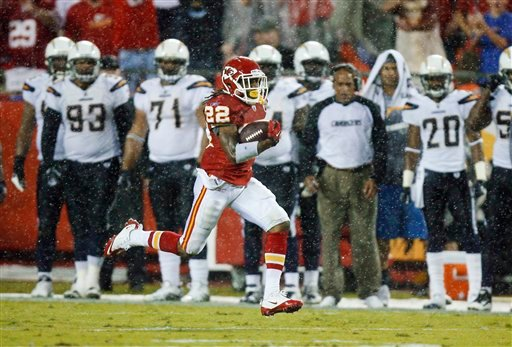 Kansas City Chiefs wide receiver Dexter McCluster (22) runs 94 yards for a touchdown on a punt return during the first half of an NFL football game against the San Diego Chargers on Monday, Sept. 13, 2010, in Kansas City, Mo. (AP Photo/Ed Zurga)
