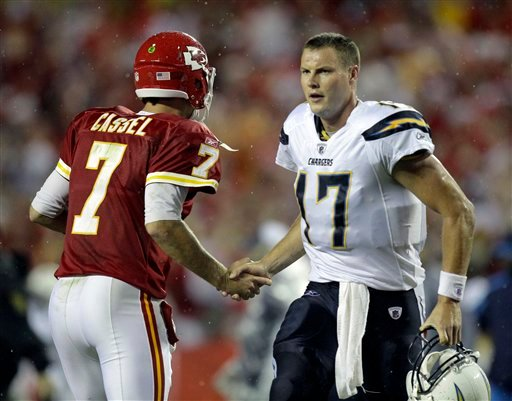 Kansas City Chiefs quarterback Matt Cassel (7) shakes hands with San Diego Chargers  quarterback Philip Rivers (17) after an NFL football game Monday, Sept. 13, 2010, in Kansas City, Mo. The Chiefs won the game 21-14. (AP Photo/Charlie Riedel)