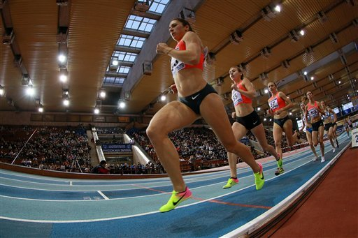 Athletes during the 1500 race final at the 2017 Russian Winter track-and-field competition in Moscow.