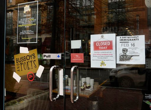 "Several restaurants nationwide are closing in solidarity with ""A Day Without Immigrants"" like BusBoys and Poets on February 16, 2017 in Washington, DC."