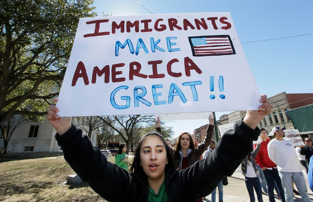 """In an action called """"A Day Without Immigrants,"""" immigrants across the country are expected to stay home from school, work and close businesses to show how critical they are to the U.S. economy and way of life. (AP Photo/LM Otero)"""