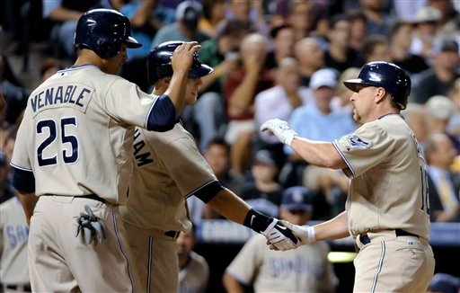 San Diego Padres' Matt Stairs (16)is congratulated at home plate by Aaron Cunningham, back, and Will Venable (25) after hitting a two-run home run against the Colorado Rockies during the eighth inning of a baseball game in Denver, Tuesday, Sept. 14, 2010.