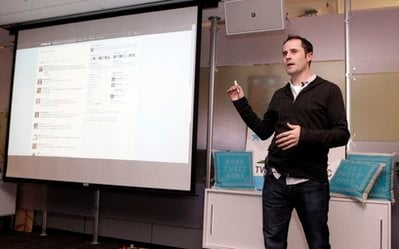 Twitter CEO Evan Williams makes a presentation about changes to the social network at Twitter headquarters in San Francisco, Tuesday, Sept. 14, 2010.