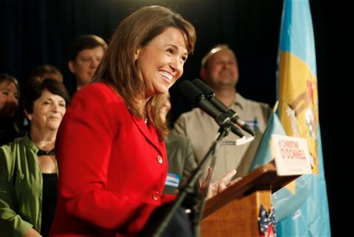 Senate candidate Christine O'Donnell addresses supporters after winning the Republican nomination for Senate in Delaware, Tuesday, Sept. 14, 2010, in Dover, Del. O'Donnell upset Rep. Mike Castle. (AP Photo/Rob Carr)