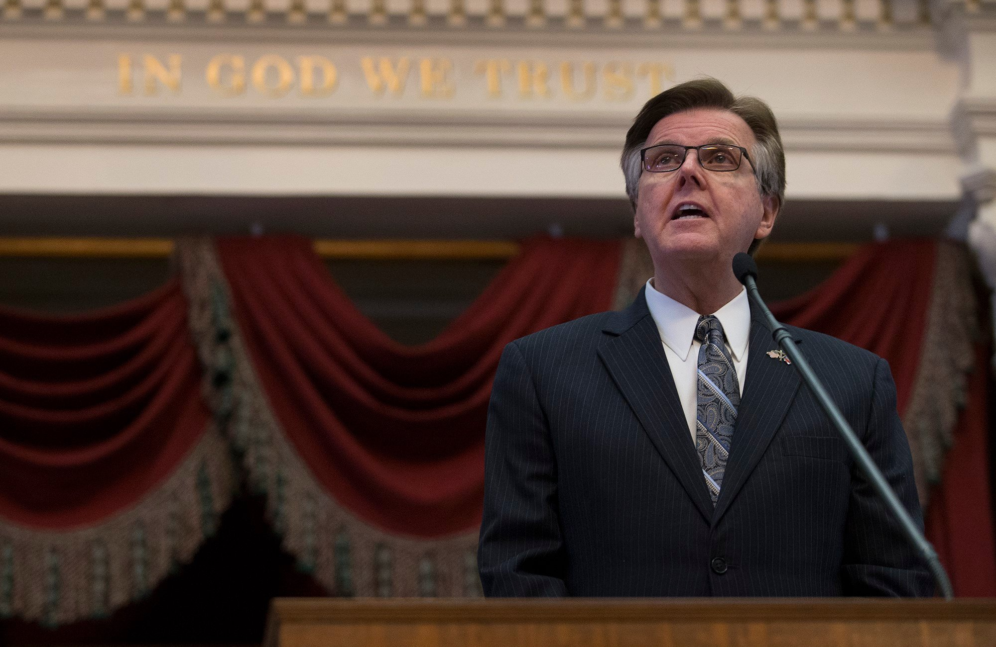 Texas Lt. Gov. Dan Patrick speaks before the State of the State address during a joint session of the House and Senate, Tuesday, Jan. 31, 2017, at the Texas Capitol in Austin, Texas. (AP Photo/Stephen Spillman)