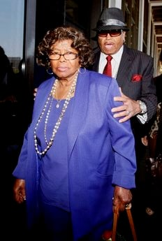 FILE - In this June 14, 2010 photo, Michael Jackson's parents, Katherine Jackson and Joe Jackson leave a Los Angeles courthouse after a preliminary hearing setting and motions in the trial of Michael Jackson's personal doctor Conrad Murray.