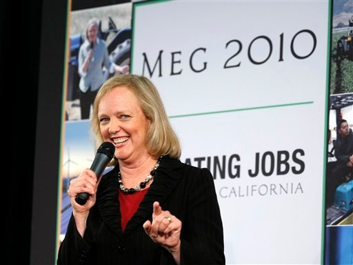California Republican gubernatorial candidate Meg Whitman speaks during a campaign stop a Yelp headquarters in San Francisco, Wednesday, Sept. 15, 2010. (AP Photo/Marcio Jose Sanchez)
