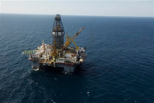 The Development Driller III, which drilled the relief well and pumped the cement to seal the Macondo well, the source of the Deepwater Horizon rig explosion and oil spill, is seen in the Gulf Of Mexico. Sept. 18, 2010. (AP Photo/Gerald Herbert)