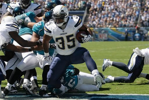 San Diego Chargers running back Mike Tolbert scores a touchdown against the Jacksonville Jaguars in the first quarter during their NFL football game Sunday, Sept. 19, 2010, in San Diego. (AP Photo/Gregory Bull)
