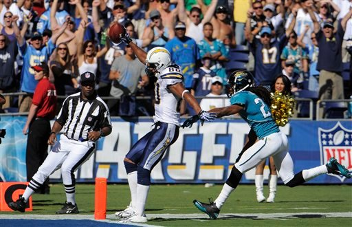 San Diego Chargers wide receiver Malcom Floyd scores a touchdown as Jacksonville Jaguars cornerback Rashean Mathis defends in the second half during their NFL football game Sunday, Sept. 19, 2010, in San Diego. The Chargers won 38-13. (AP Photo)