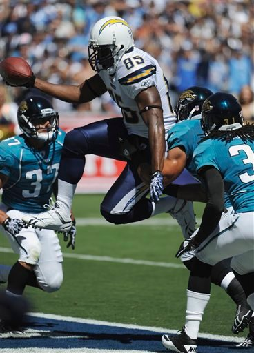 San Diego Chargers tight end Antonio Gates scores a touchdown against the Jacksonville Jaguars in the first half during their NFL football game Sunday, Sept. 19, 2010, in San Diego. (AP Photo/Denis Poroy)