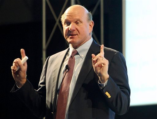 Microsoft CEO Steven Ballmer makes a point during his keynote address to the Montana Economic Development Summit at Montana Tech in Butte, Mont. on Sept. 13, 2010. (AP Photo/Montana Standard, Walter Hinick)