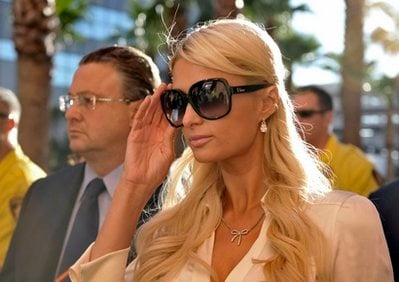 Socialite Paris Hilton and her attorney David Z. Chesnoff, left, leave the Clark County Regional Justice Center in Las Vegas, Nev. on Monday, Sept. 20, 2010.