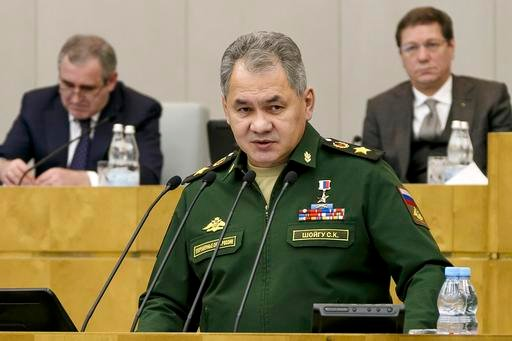 Russian Defense Minister Sergei Shoigu speaks in the State Duma, the Lower House of the Russian Parliament, in Moscow, Russia, Wednesday, Feb. 22, 2017.