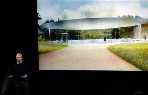 Apple CEO Tim Cook, discusses the new Apple campus at an event to announce new products at Apple headquarters Monday, March 21, 2016, in Cupertino, Calif.