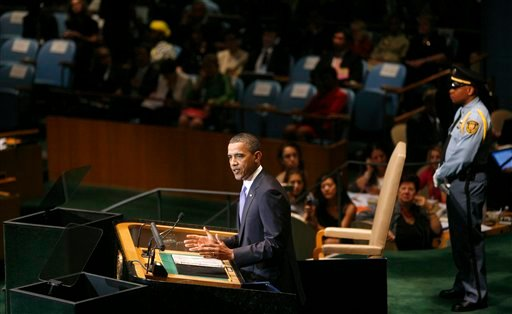 U.S. President Barack Obama addresses the 65th session of the United Nations General Assembly at United Nations headquarters Thursday, Sept. 23, 2010. (AP Photo/Jason DeCrow)