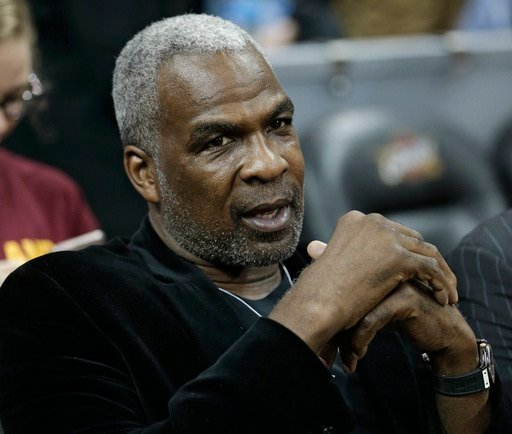 Former New York Knicks player Charles Oakley waits for an NBA basketball game between the Knicks and the Cleveland Cavaliers, Thursday, Feb. 23, 2017, in Cleveland.