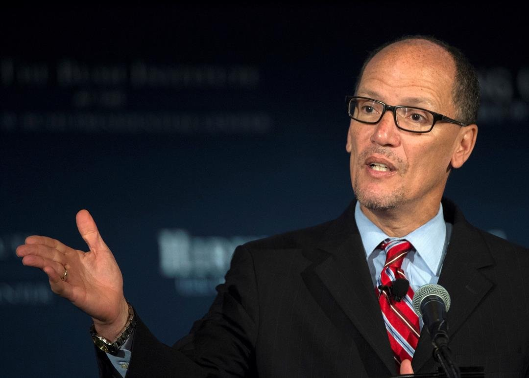 FILE - Then Labor Secretary Thomas Perez speaks at the U.S. Chamber of Commerce Foundation's Hiring Our Heroes program. (AP Photo/Molly Riley)