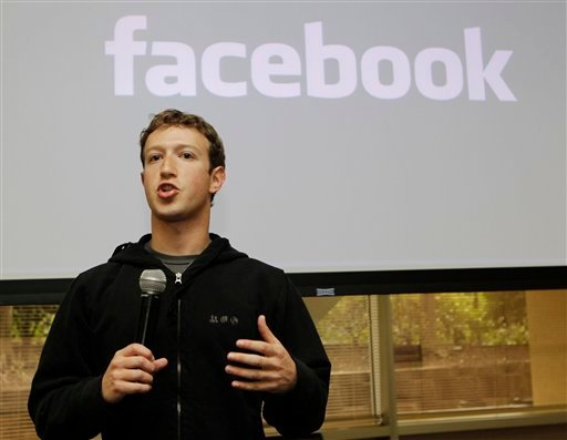 In this May, 26, 2010 file photo, Facebook CEO Mark Zuckerberg talks about the social network site's new privacy settings in Palo Alto, Calif.