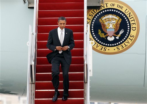 President Barack Obama walks down the stairs from Air Force One upon his arrival at Andrews Air Force Base, Md. on Friday, Sept. 24, 2010. (AP Photo/Jose Luis Magana)