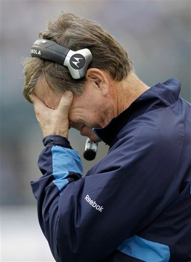 San Diego Chargers head coach Norv Turner rubs his face in the final minutes of the 27-20 loss to the Seattle Seahawks in the second half of an NFL football game, Sunday, Sept. 26, 2010, in Seattle. (AP Photo/John Froschauer)