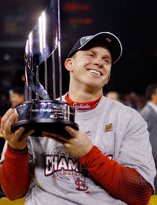David Eckstein joined some elite company in 2006, winning another World Series with a team from a different league.  (AP)