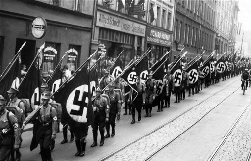 Members of the SA (Sturmabteilung) march through the streets of Nuremberg.