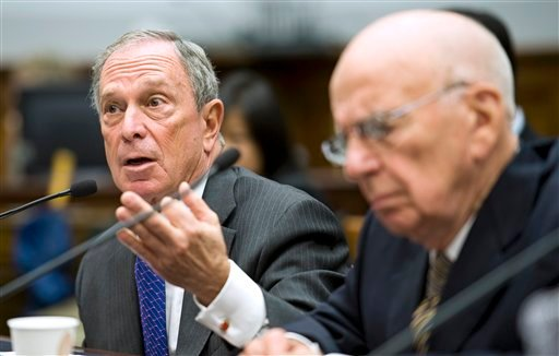 New York City Mayor Michael Bloomberg, left, and News Corporation Chairman and CEO Rupert Murdoch testify on Capitol Hill Washington, Thursday, Sept. 30, 2010.