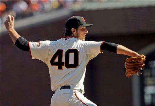 San Francisco Giants starting pitcher Madison Bumgarner throws to the Arizona Diamondbacks during the second inning of a baseball game in San Francisco, Thursday, Sept. 30, 2010. (AP Photo/Marcio Jose Sanchez)