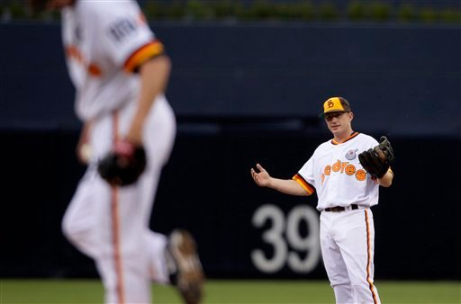San Diego Padres second baseman David Eckstein reacts shortly before the first pitch in the first inning against the Chicago Cubs during their baseball game Thursday, Sept. 30, 2010, in San Diego. (AP Photo/ Gregory Bull)
