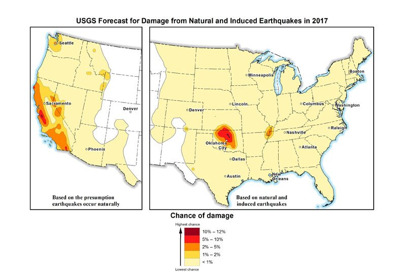 In this image provided by the U.S. Geological Survey, the USGS's 2107 earthquake forecast map.
