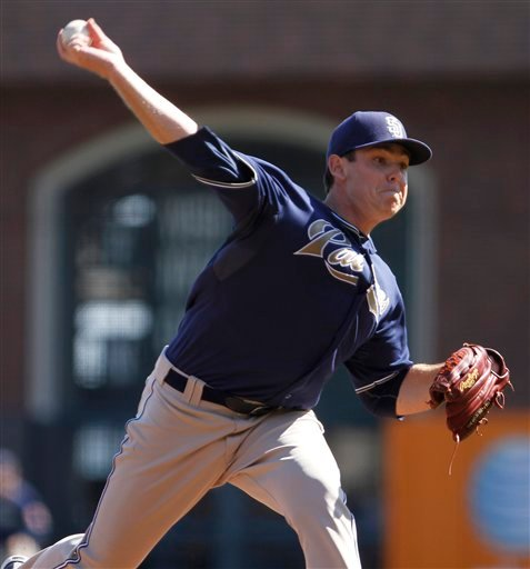 San Diego Padres' Tim Stauffer works against the San Francisco Giants during the first inning of a baseball game Saturday, Oct. 2, 2010, in San Francisco. (AP Photo/Ben Margot)