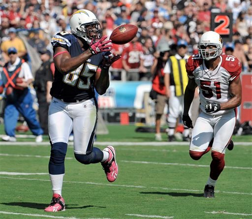 San Diego Chargers tight end Antonio Gates, left, hauls in a touchdown pas in front of Arizona Cardinals linebacker Paris Lenon during the first half of an NFL football game Sunday, Oct. 3, 2010, in San Diego. (AP Photo/Denis Poroy)