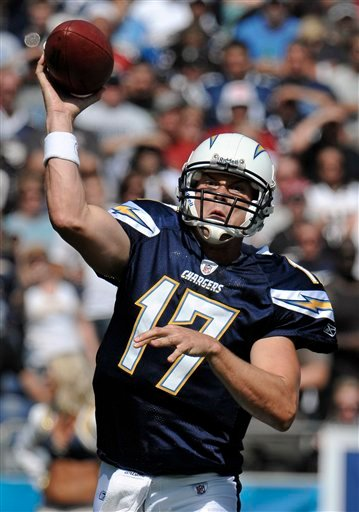San Diego Chargers  quarterback Philip Rivers throws against the Arizona Cardinals during first half of an NFL football game Sunday, Oct. 3, 2010, in San Diego. (AP Photo/Denis Poroy)